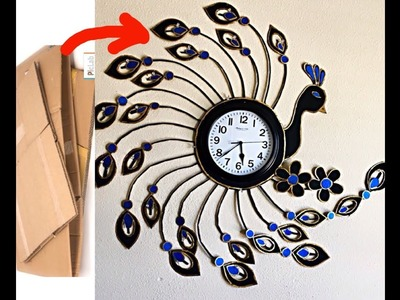Diy wall clock design for decoration.diy designer peacock  wall clock. fashion pixies