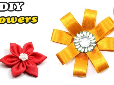 Easy way to make DIY FLOWERS from Cloth & Ribbon at Home By Sonali Creations | Easy Craft