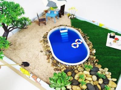 How to Make Mini Pool Zen Garden -  DIY  Fairy Garden For LoL Doll