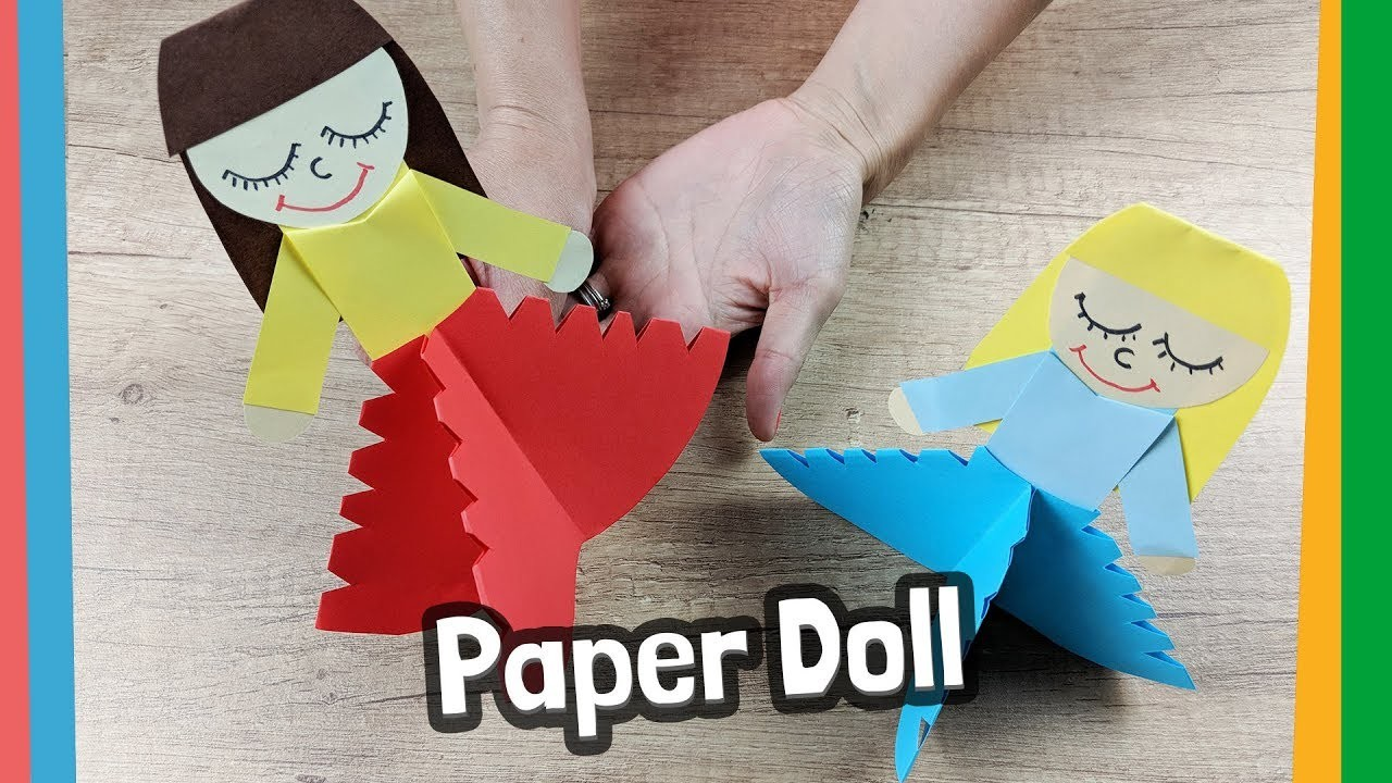 Lovely paper doll craft for kids - easy to make at home!