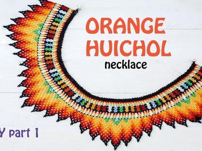 Orange Huichol Necklace - Part 1 of DIY in English