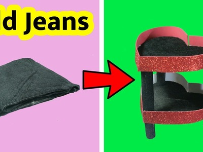Best Out Of Waste | Old Jeans Recycling | DIY Desk Organizer | Convert Old Jeans In To A Organizer