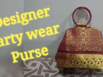 DIY Designer Partywear Purse, Indian Sari Bag, Bangle Handled Bag, Wedding Purse, Reuse Blouse Piece