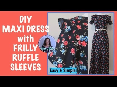 DIY MAXI DRESS with FRILLY RUFFLE SLEEVES, BOATNECK  | SEW ALONG | SEWING FOR BEGINNERS
