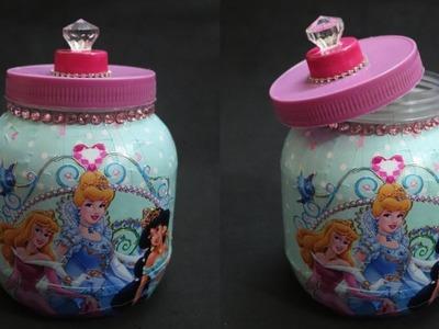 DIY Princess Jar. DIY storage jar with Waste Material.Disney Princess Organizer