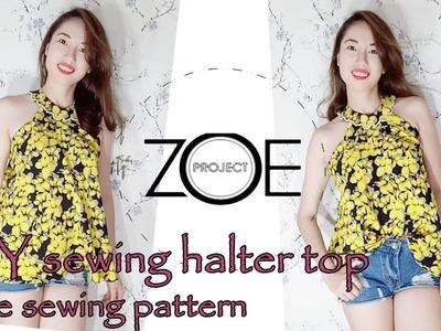 DIY sewing halter top   free sewing pattern with Zoe diy