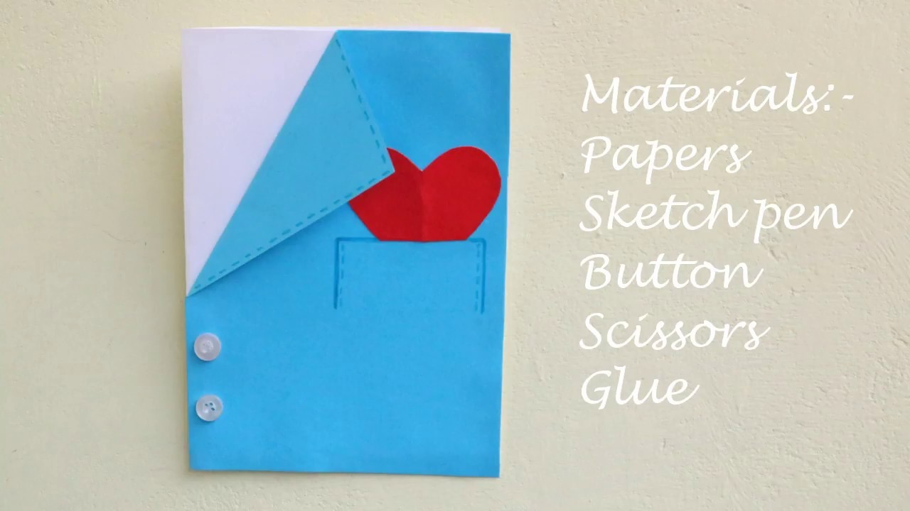DIY Shirt Jacket Card.Suit card for father's day.Father's day card for kids.Simple greeting card
