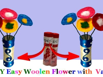 DIY Woolen Flowers with flower pot from waste ponds plastic bottle step by step|woolen flower making