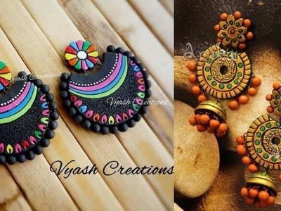 Handmade jewelry set.handmade earrings from clay.beautiful colourful earrings design