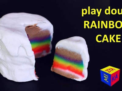 Play dough cake. How to make a RAINBOW CAKE. Educational video for kids toddlers