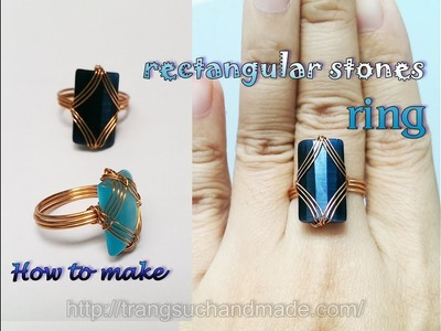 Ring with rectangular cabochon - easy jewelry making from copper wire 386