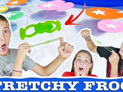 Stretchy Frog Launch Toy Challenge | Fun Lilly Pad Kids Game And Craft