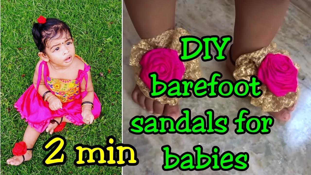 DIY barefoot sandals for babies|no sew|2 min, easy & simple DIY|Reuse waste cloth|Asvi