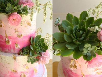 DIY Buttercream Wedding Cake With Succulents And Fresh Flowers | Collab with Wedding Cakes For You!