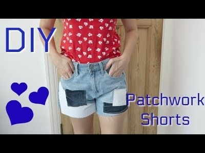 DIY patchwork denim shorts, from old jeans!
