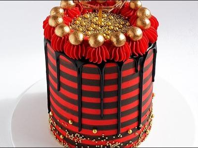 Gold, Black and Red Striped Cake Tutorial- Rosie's Dessert Spot