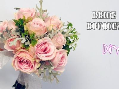 How to DIY Wedding Flower Spray Rose mix Silver Dust ?Bride Bouquet