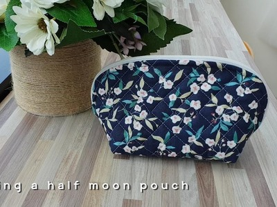 Making a half moon pouch #DIY Zippered Pouch.  반달 파우치만들기
