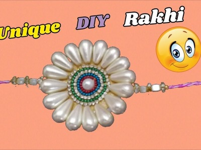 Rakhi making with drop shape pearls | Easy DIY