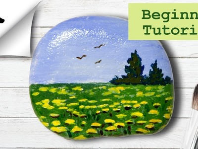 Rock Painting Tutorial For Beginners Landscape Meadow