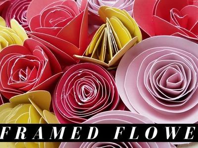 Upcycled Framed Rolled Paper Flower Decor