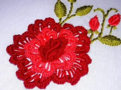Hand Embroidery :brazilian rose embroidery by nakshi katha.
