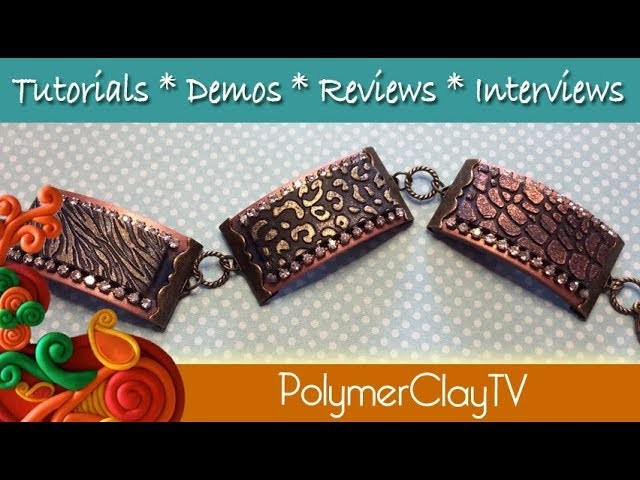 How to create a ribbon clamp stamped Wild Things Bling bracelet with polymer clay