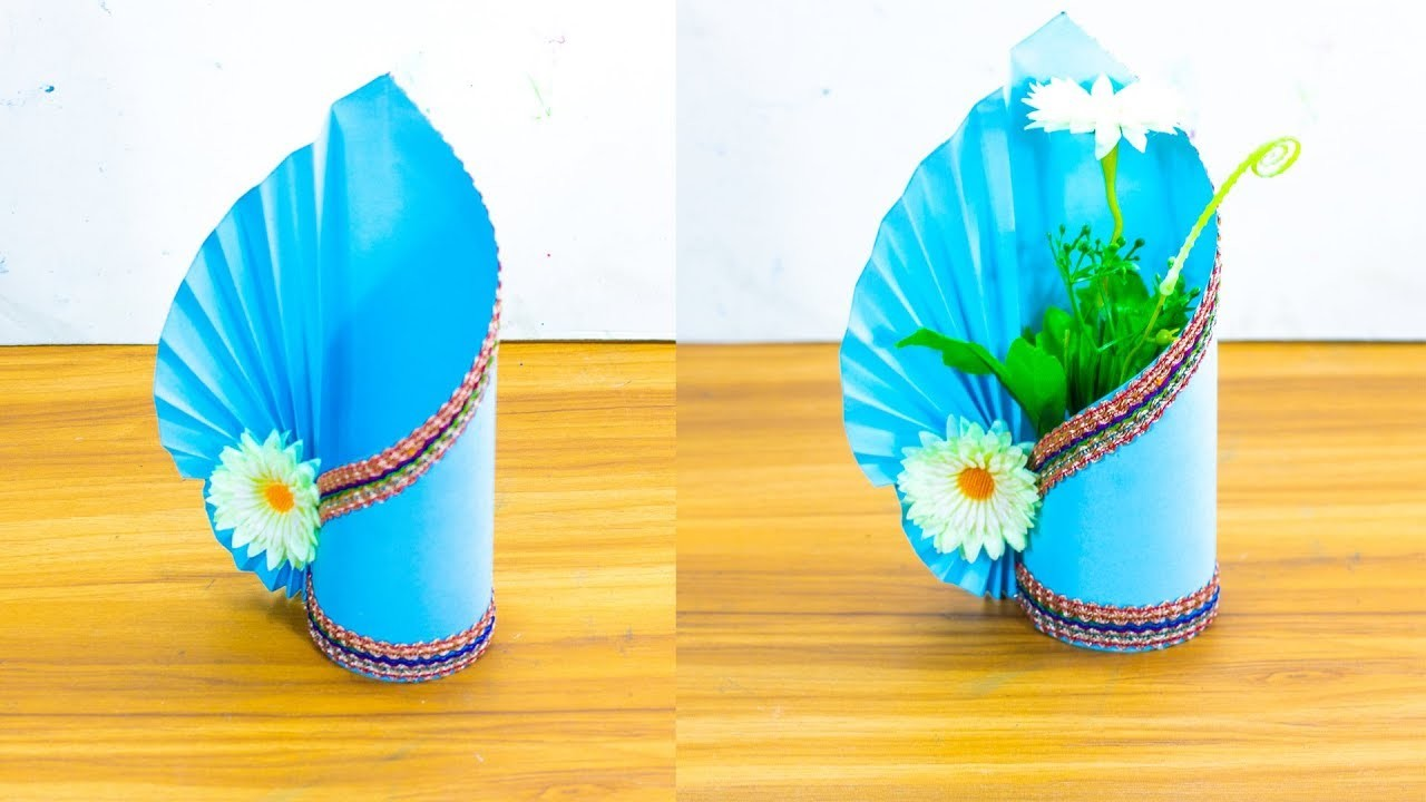 How to make a paper vase at home simple paper craft for How to make simple crafts at home