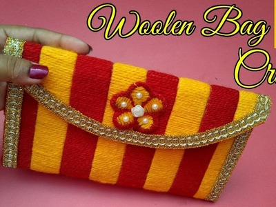 How to make a woolen ladies hand bag Or Purse Using Plastic Bag | Best out Of waste Craft