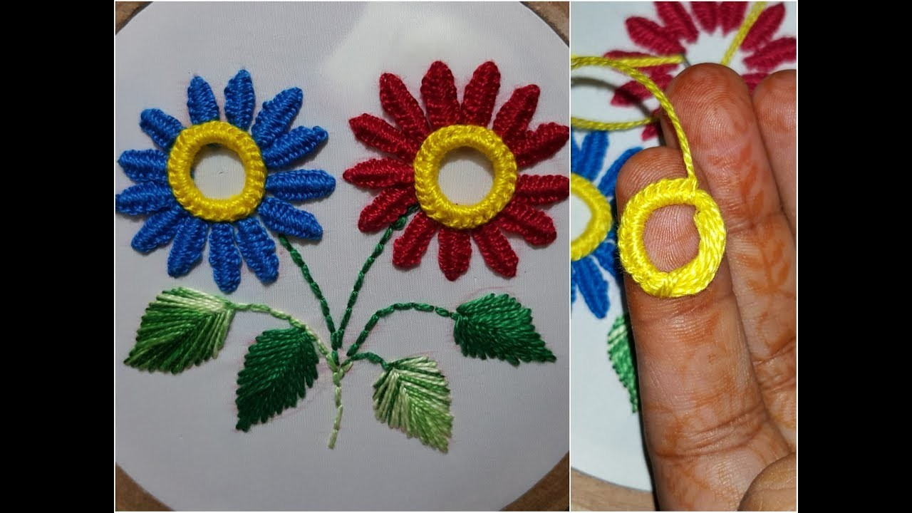 Double Button hole Stitch with anker thread ring hand embroidery new flower work