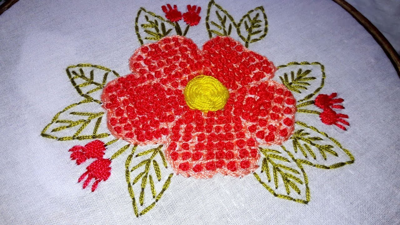 Hand Embroidery French Knot Stitch Flower Design
