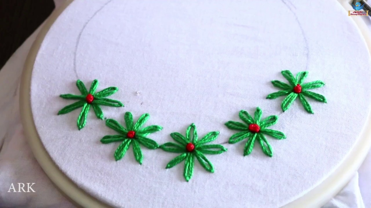 Hand Embroidery Stitching Flowers Hand Works For Neck Design Diy