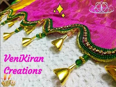 How to Make Saree Tassel.Kuchu design with Beads @ Home - Design 67::Tutorial