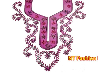 Learn How to Simple Neck Designs for Girl's Dresses | Learn Hand Embroidery Designs