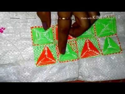 Plastic Sack stitch. Triangular pattern. Hand embroidery on plastic Sack. Table mat. Door mat.