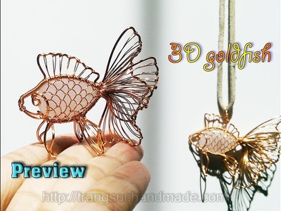 Preview 3D goldfish from copper wire and flat stone teardrop of Lan Anh Handmade