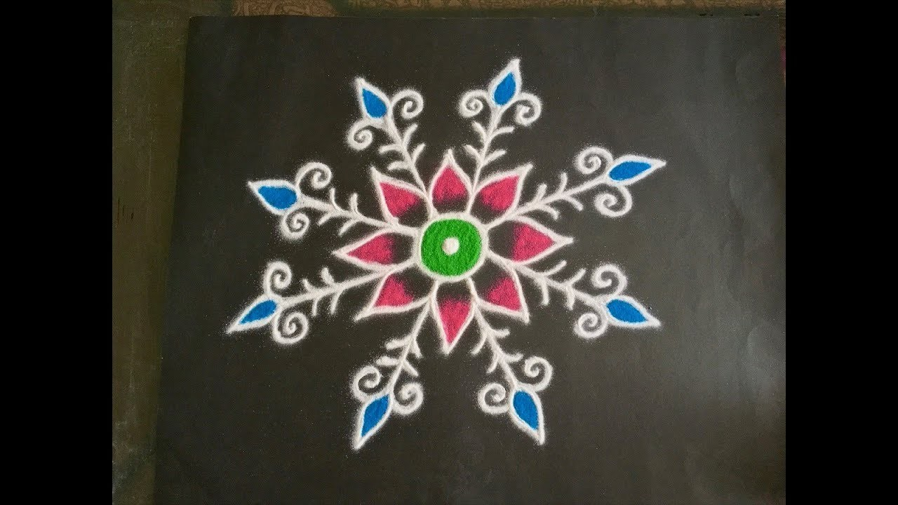 simple flower rangoli design with colours latest free