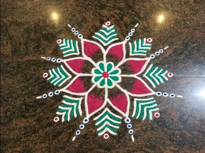 Simple Free Hand Rangoli Design with Beautiful Colours | Easy Rangoli for Festivals and Competition