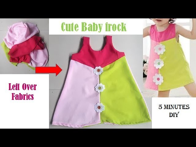 DIY Cute Baby Frock From Left Over Fabrics in just 5 Minutes