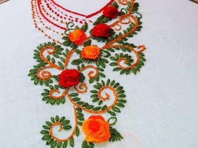 Hand Embroidery: beautiful Neckline Embroidery for Kurtis.Kameez