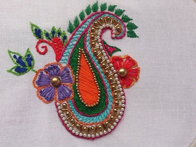 Hand embroidery.Elegent  motif design for dresses.Aari style embroidery.