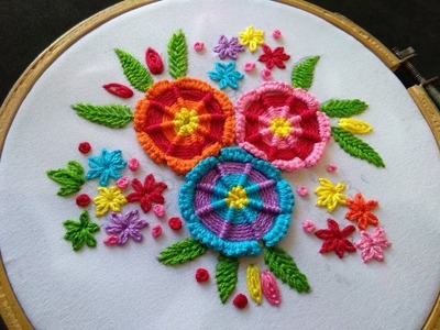 Hand Embroidery - Spider Web Stitch Flower