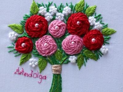 Hand Embroidery: Stem Stitch Rose Bouquet | Bordados a Mano: Bouquet de Rosas en Punto Tallo