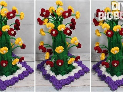 How to make Flower Vase with Wool | Best idea 2018 | 4 | DBB