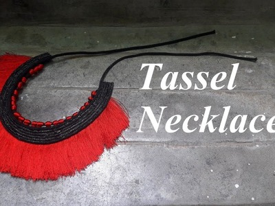 How to make silk thread tassel necklace.Red tassel necklace.Creation&You