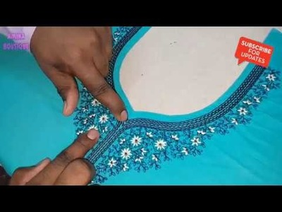 How to set Embroidery Neck using Paper Pasting