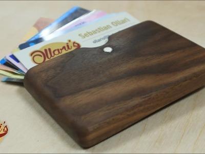 Making a modern walnut wood wallet. Business card holder