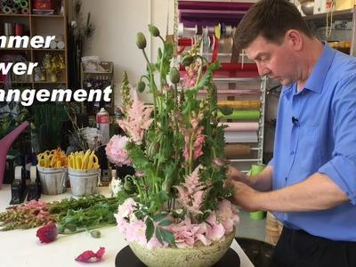 Summer Flower Arrangement Featuring Poppies, Astilbe And Hydrangea