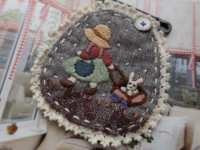 프랑스자수 선보넷 브로치 만들기 │ How To Make a Hand Embroidery Sunbonnetsue Brooch│ DIY Craft Tutorial