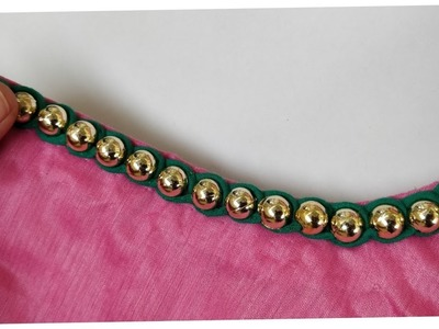 Very easy and stylish beaded neckline making step by step